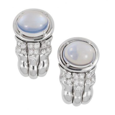Flowing Lines Moonstone and Diamond Earrings