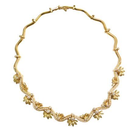 Floral and Ribbon Diamond Necklace