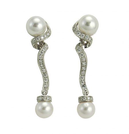 Cultured Pearl and Diamond Drop Earrrings