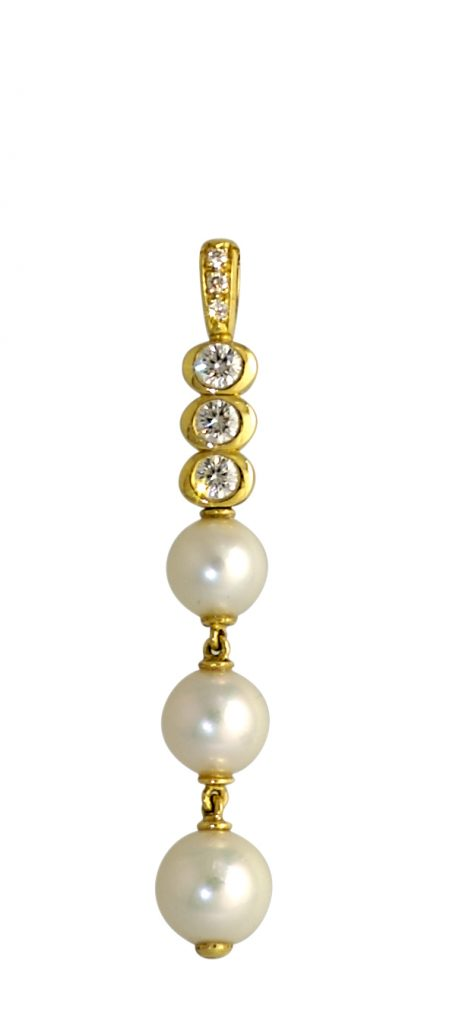 Cultured Pearl and Diamond Pendant