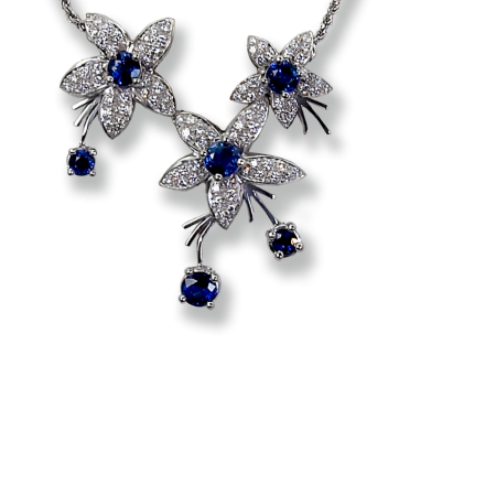 Jasmin Sapphire and Diamond Necklace
