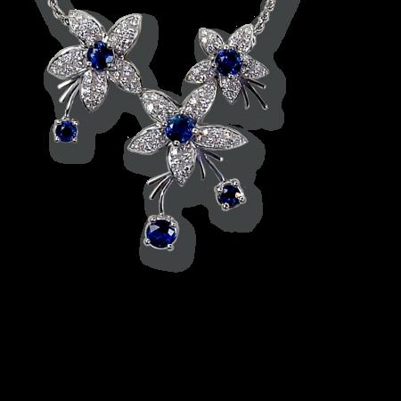 Jasmin Sapphire and Diamond Necklace