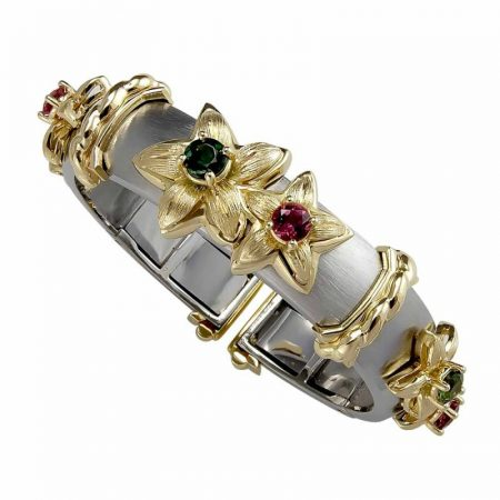Jasmine Flower Green Tourmaline and Pink Tourmaline Clip Bangle Bracelet