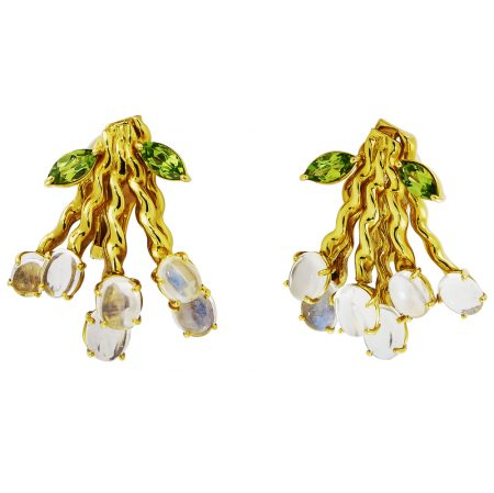 Flowing Lines Bouquet Peridot and Moonstone Earrings