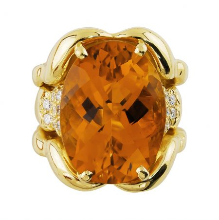 Triple Flowing Lines Citrine and Diamond Ring