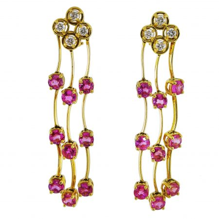 Triple Row Cascade Pink Sapphire and Diamond Earrings