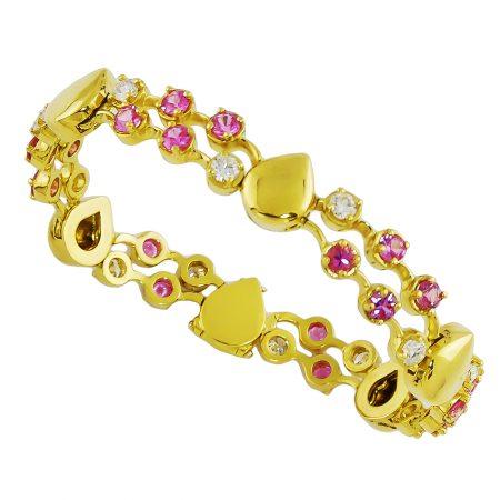 Pink Sapphire and Diamond Bracelet