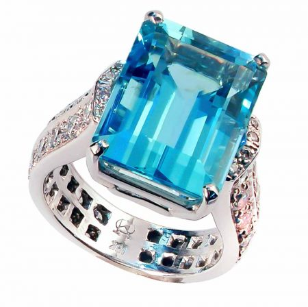Aquamarine and Diamond Cathedral Ring