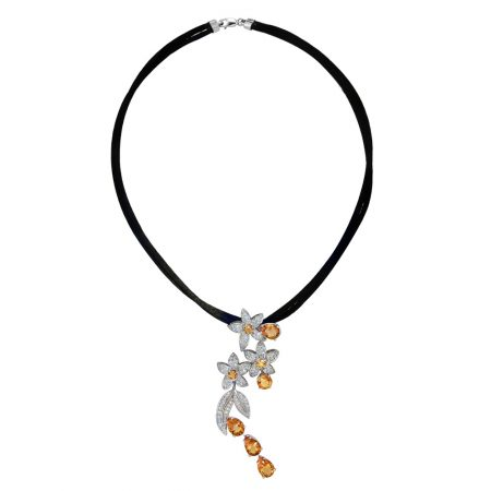Jasmin and Feuilles Diamond and Citrine Pendant