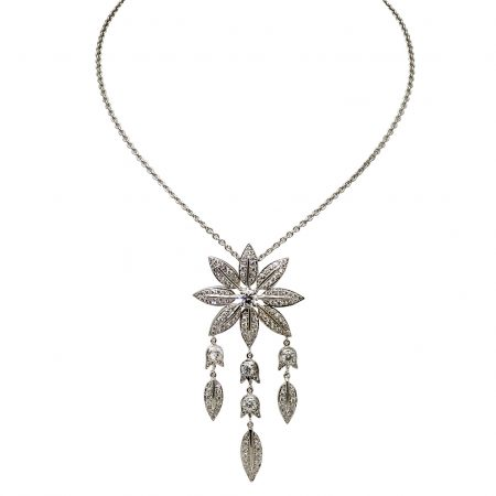 Feuilles Diamond Pendant with 3 Leaf Drops