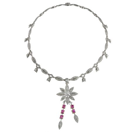 Lily of the Valley Pink Sapphire and Diamond Necklace