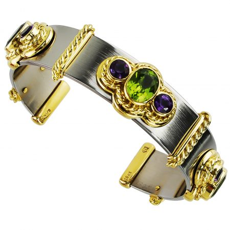 Callista Peridot and Amethyst Cuff Bracelet