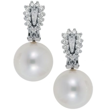 Cultured South Sea Pearl and Diamond Earrings