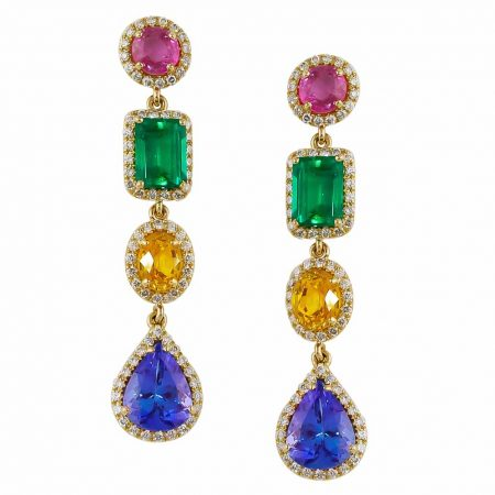 Multi Colored Gemstone Diamond Drop Earrings