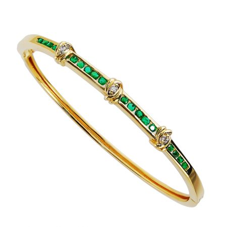 EEmerald and Diamond Bangle Bracelet