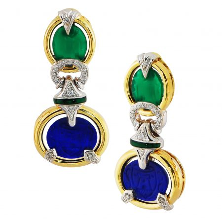 Lapis Lazulie and Agate Earrings
