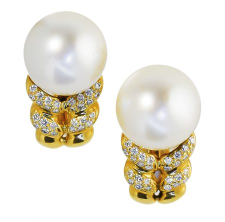South Seas Cultured Pearl and Diamond Earrings