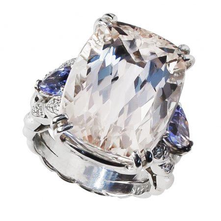 Kunzite, Tanzanite and Diamond Ring