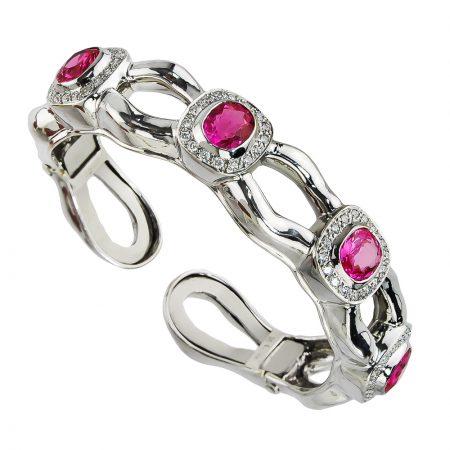 Tzarina Pink Sapphire and Diamond Cuff Bracelet