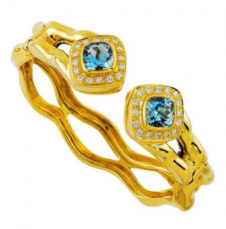 Flowing Lines Blue Topaz Bracelet in Yellow Gold