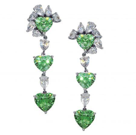 Tsavorite and Diamond Dangle Earrings