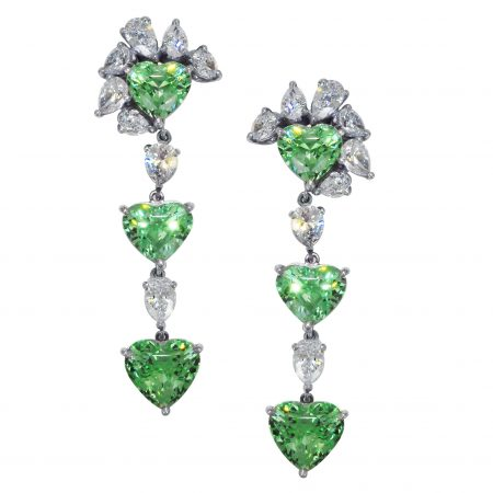 Tsavorite and Diamond Dangle Earrings