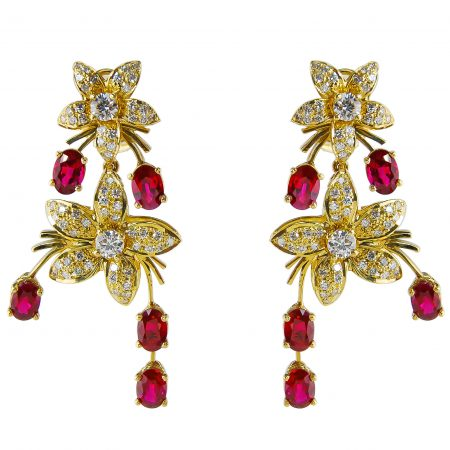Jasmin de Nuit Ruby and Diamond Earrings
