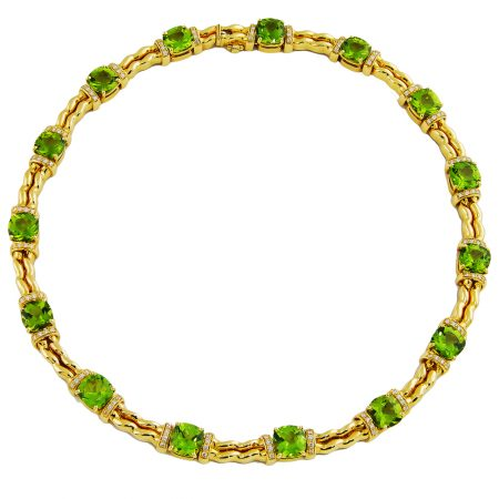 Double Flowing Lines Peridot and Diamond Necklace