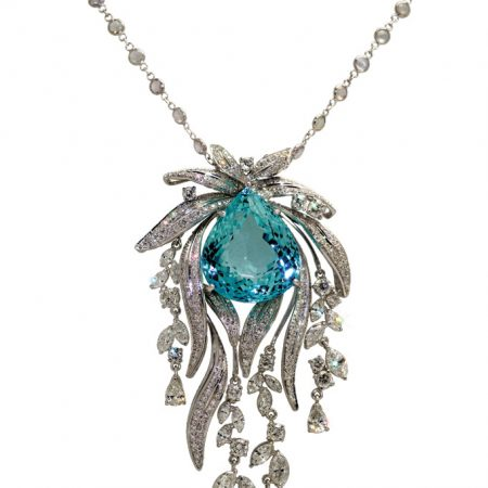 Sky Blue Topaz and Diamond Necklace