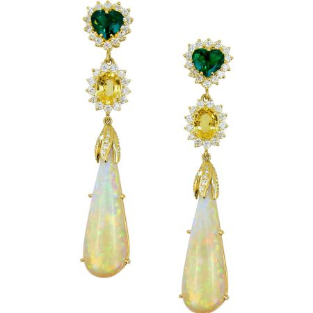 Opal, Yellow Sapphire, Emerald and Diamond Drop Earrings
