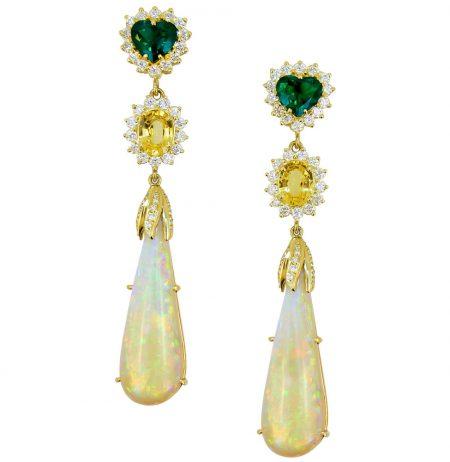 Opal, Yellow Sapphire, Emerald and Diamond Drop Earrings