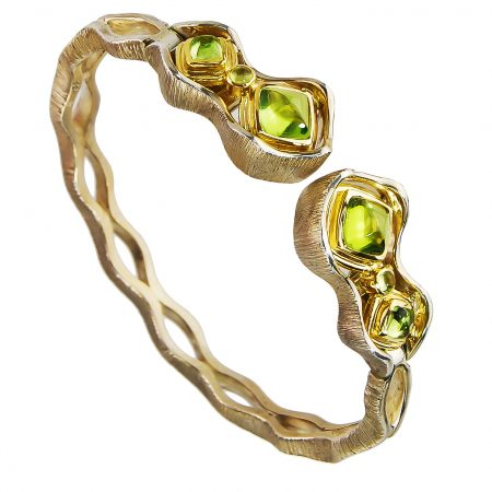 Peridot and Gold Cuff Bracelet