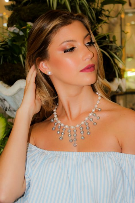 The Open Fan Necklace with Gray & White Freshwater Pearls