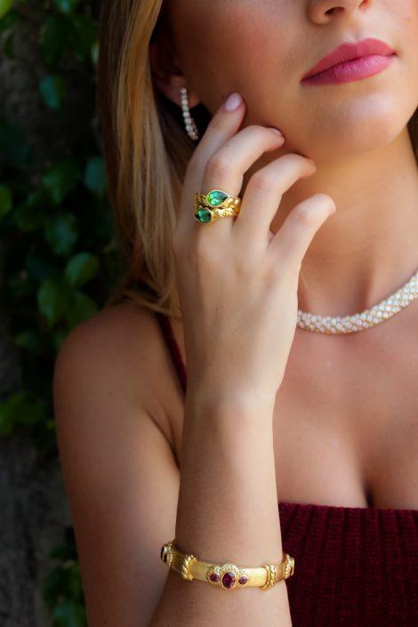 18K Gold and Rhodolite Callista Bracelet