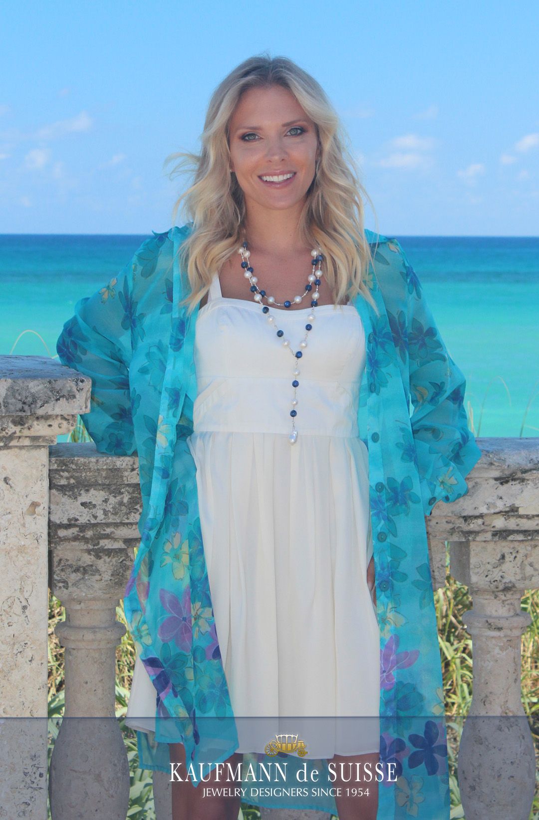 The Palm Beach Lariat Necklace in Sodalite and White Pearls