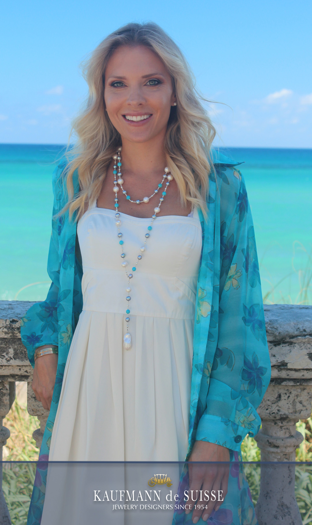 The Palm Beach Lariat Pearl and Aquamarine Necklace