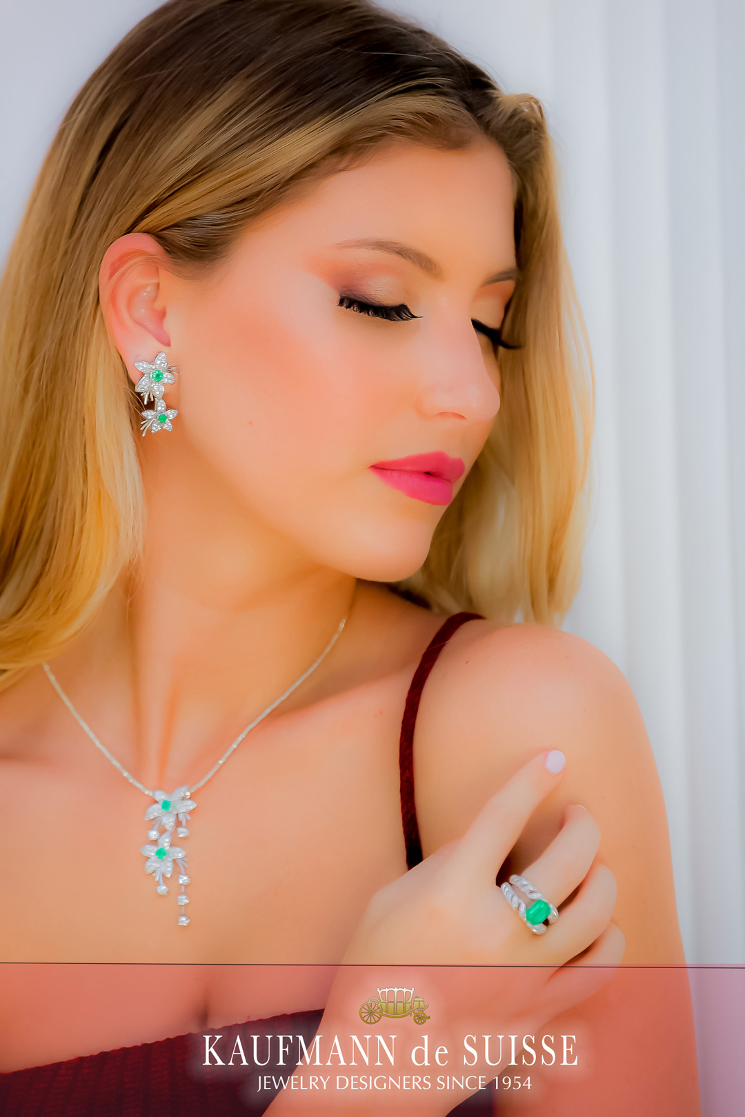 18K White Gold Emerald and Diamond Earrings, Necklace and Ring