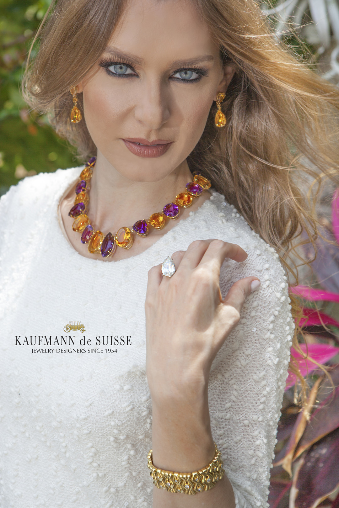 18K Yellow Gold Amethyst & Citrine Necklace and Earrings with Pear Shaped Diamond Ring