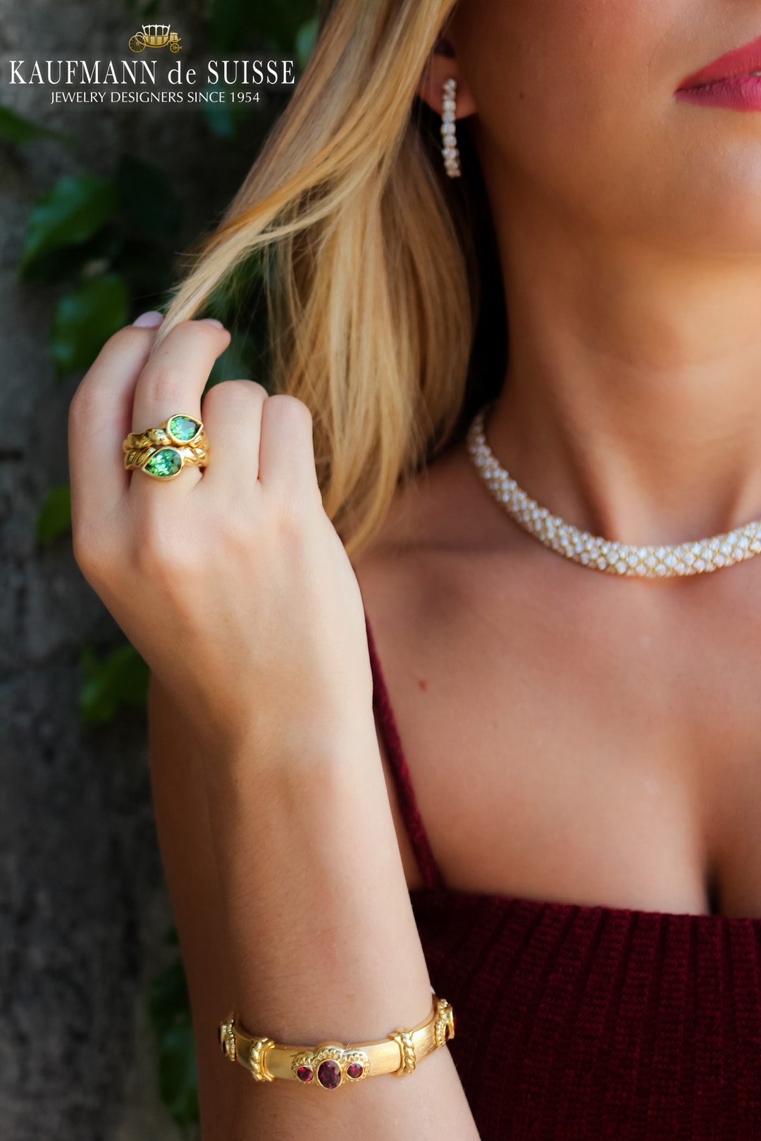 18K Yellow Gold and Green Tourmaline Ring & 18K Rhodolite Garnet Bracelet