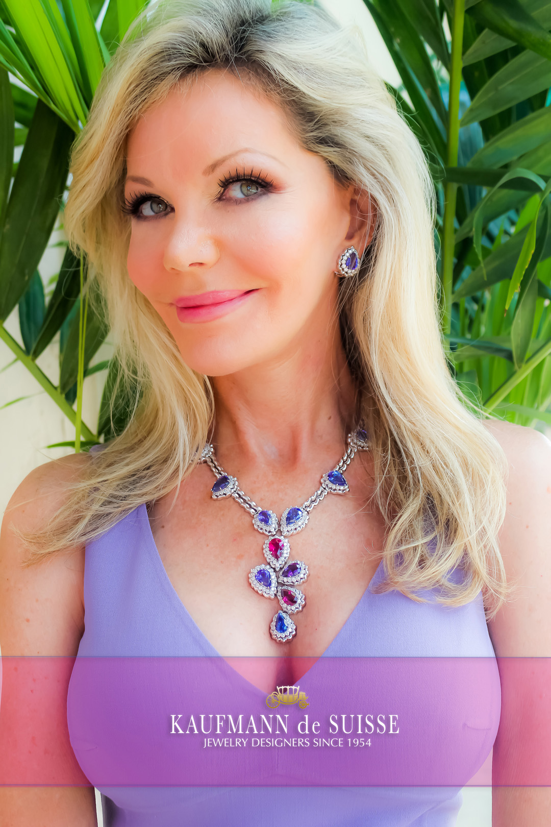 18K White Gold Necklace with Tanzanites, Rubellite and Amethyst