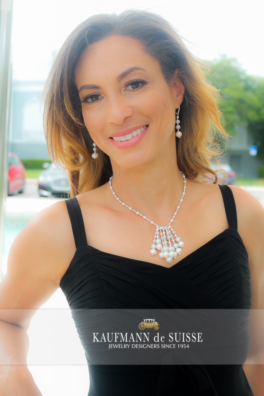 The Pearl Tassel Necklace with Gray and White Freshwater Pearls
