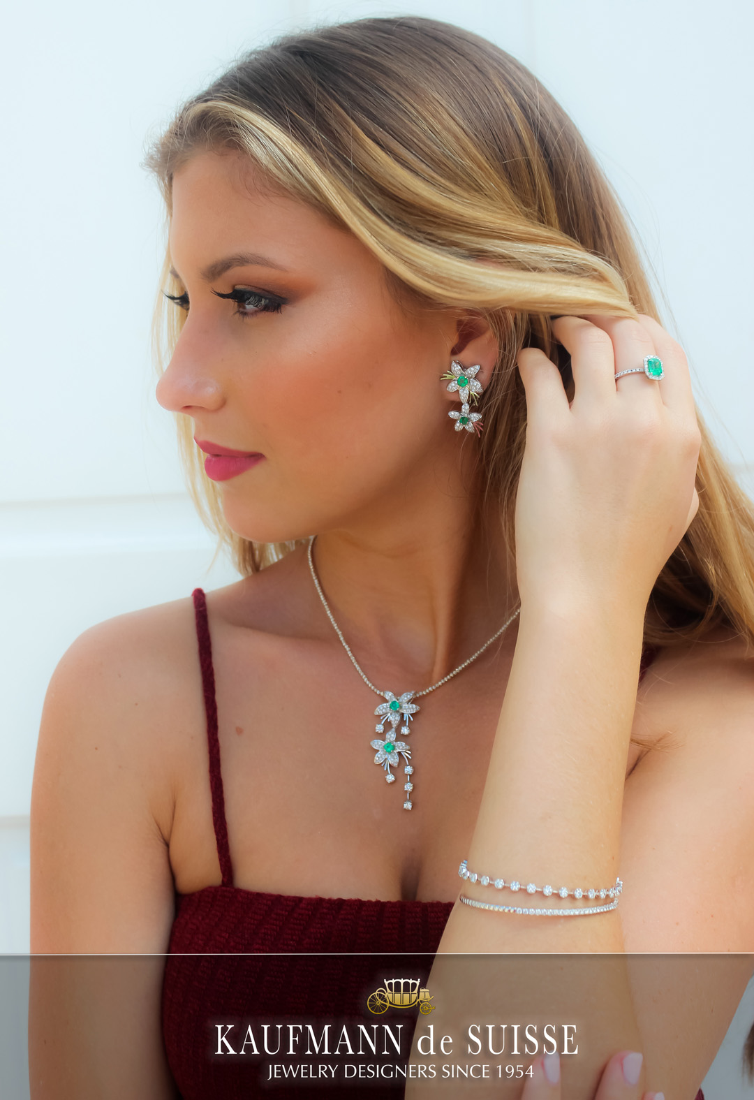 Emerald and Diamond Necklace, Earrings and Ring