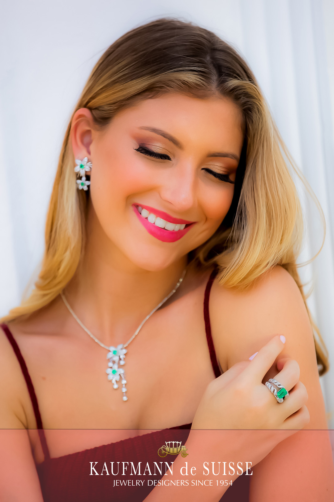 Emerald and Diamond Ring, Necklace and Earrings