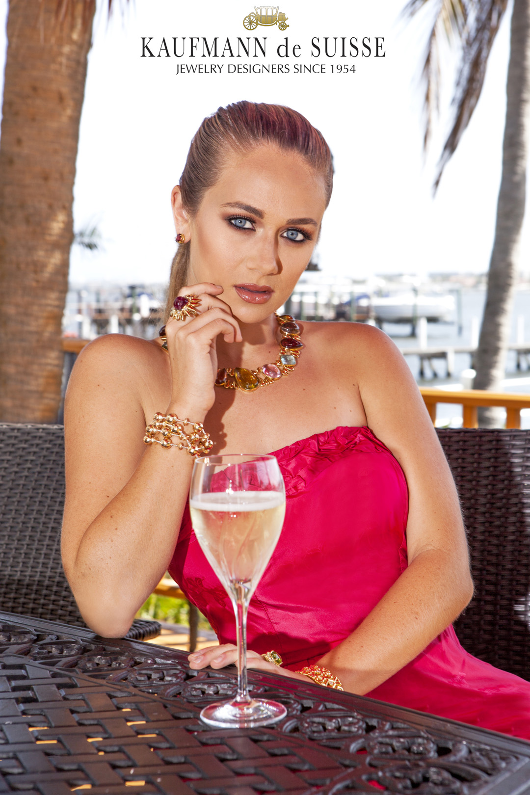 Gold Beaded Bracelet and Tourmaline Necklace
