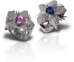 Pink and Blue Sapphire Rings from the Jasmine Collection at Kaufmann de Suisse