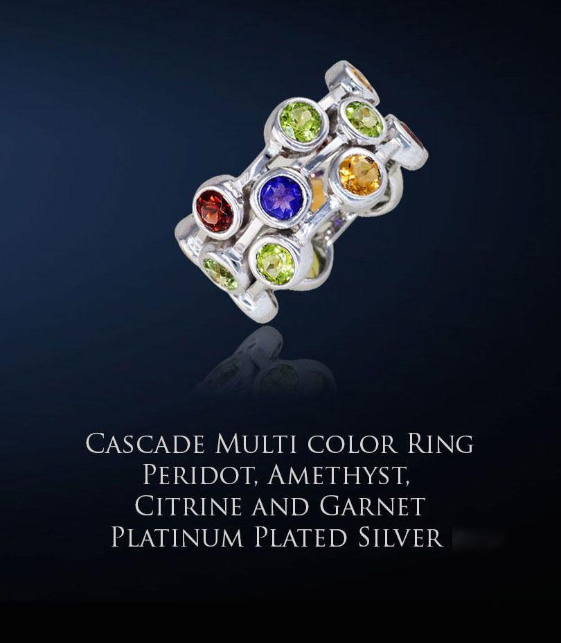 Cascade Multi Gemstone Ring with Platinum Plating
