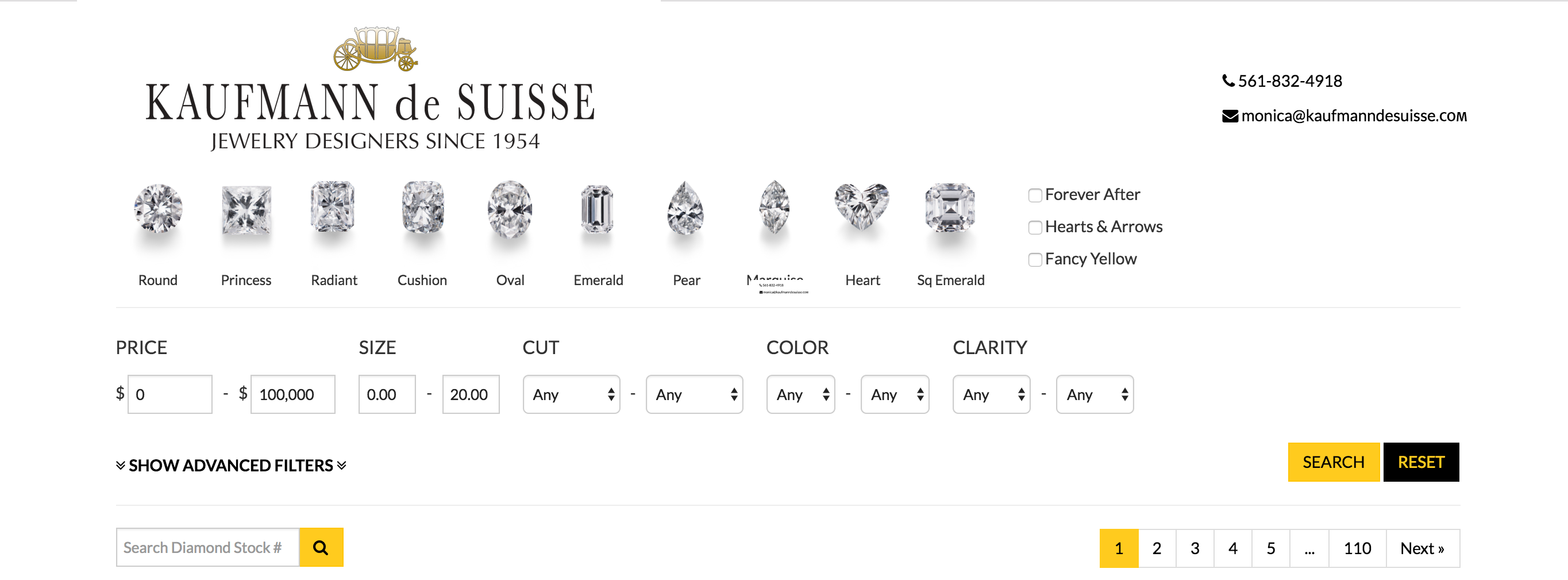 Search for Loose Diamonds at Kaufmann de Suisse