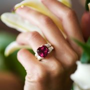 Fabulous Rubellite and Diamond Ring