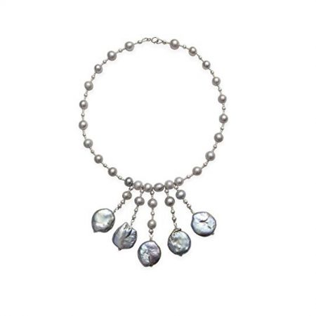 Kaufmann De Suisse Freshwater Pearl Necklace with 5 Coin Pearl Drops