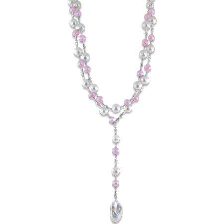 Rose Quartz Lariat Pearl Necklace